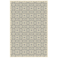 Quad European 72 X 48 inch Grey and White Outdoor Rug