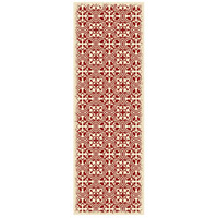 Quad European 72 X 24 inch Red and White Outdoor Rug