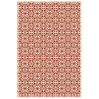 Quad 72 X 48 inch Red and White Outdoor Rug