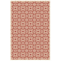 Quad European 72 X 48 inch Red and White Outdoor Rug
