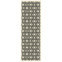 Ring 72 X 24 inch Black and White Outdoor Rug