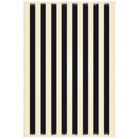 Strips 72 X 48 inch Black and White Outdoor Rug