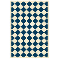 Diamond 72 X 48 inch Blue and White Outdoor Rug