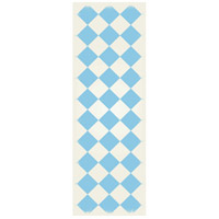 Diamond 72 X 24 inch Light Blue and White Outdoor Rug