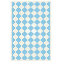 English Checker 72 X 48 inch Light Blue and White Outdoor Rug
