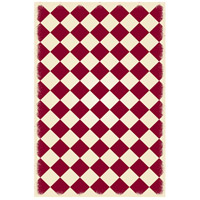 Diamond 72 X 48 inch Red and White Outdoor Rug
