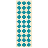 Diamond 72 X 24 inch Teal and White Outdoor Rug