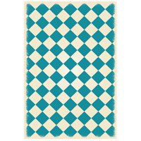 Diamond 72 X 48 inch Teal and White Outdoor Rug