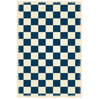 English Checker 72 X 48 inch Blue and White Outdoor Rug