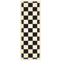 English Checker 72 X 24 inch Black and White Outdoor Rug