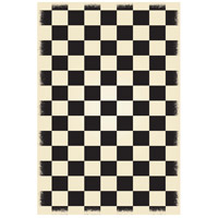 English Checker 72 X 48 inch Black and White Outdoor Rug