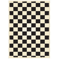 English Checker 84 X 60 inch Black and White Outdoor Rug