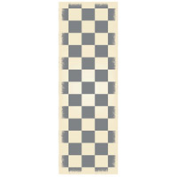 English Checker 72 X 24 inch Grey and White Outdoor Rug