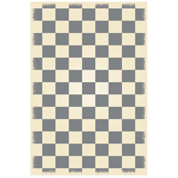 English Checker 72 X 48 inch Grey and White Outdoor Rug