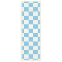 English Checker 72 X 24 inch Light Blue and White Outdoor Rug