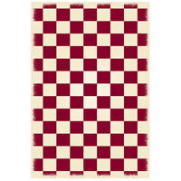 English Checker 72 X 48 inch Red and White Outdoor Rug