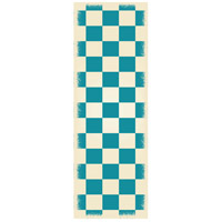 English Checker 72 X 24 inch Teal and White Outdoor Rug