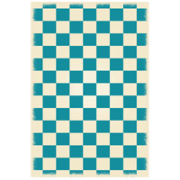 English Checker 72 X 48 inch Teal and White Outdoor Rug