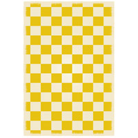 English Checker 72 X 48 inch Yellow andWhite Outdoor Rug
