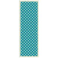 Elegant Cross 72 X 24 inch Teal and White Outdoor Rug