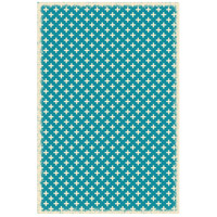 Elegant Cross 72 X 48 inch Teal and White Outdoor Rug