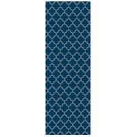 Quaterfoil 72 X 24 inch Blue and White Outdoor Rug