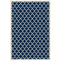 Quaterfoil 72 X 48 inch Blue and White Outdoor Rug