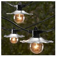 European Cafe 7 Light 35 foot Black Outdoor Party String Lights in Galvanized, Bulbs Not Included, Commercial