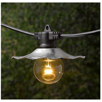 European Cafe 7 Light 35 foot Black Outdoor Party String Lights in Galvanized, Bulbs Included, Commercial