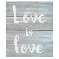 Saying Blue and Gray on Washout Grey Wall Art in Washed-Out Grey and Blue, Love is Love