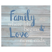 Saying Blue and Gray on Washout Grey Wall Art in Washed-Out Grey and Blue, Love Never Ends
