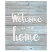 Saying Blue and Gray on Washout Grey Wall Art in Washed-Out Grey and Blue, Welcome to Our Home
