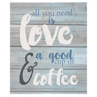 Saying Blue and Gray on Washout Grey Wall Art in Washed-Out Grey and Blue, All You Need