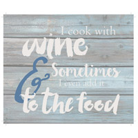 Saying Blue and Gray on Washout Grey Wall Art in Washed-Out Grey and Blue, Cook with Wine