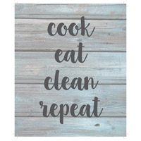 Saying Blue and Gray on Washout Grey Wall Art, Cook Eat Clean