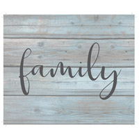 Saying Blue and Gray on Washout Grey Wall Art in Family, Family