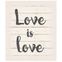 Saying Blue and Gray on White Wall Art in Washed-Out White, Love is Love