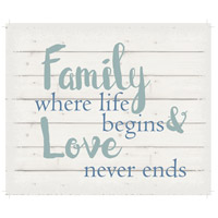 Saying Blue and Gray on White Wall Art in Washed-Out White, Love Never Ends