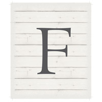 Letter Washed-Out White Decorative Wall Sign in F