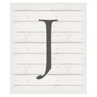 Letter Washed-Out White Decorative Wall Sign in J