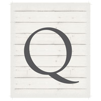 Letter Washed-Out White Decorative Wall Sign in Q