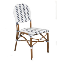 French Cafe White and Navy Outdoor Bistro Chair, Commercial-Grade