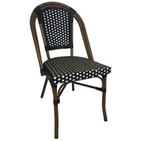Aspen Brands CBCBW French Cafe Black and White Outdoor Bistro Chair, Commercial-Grade