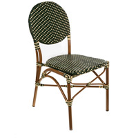 French Cafe Green and Cream Outdoor Bistro Chair, Commercial-Grade
