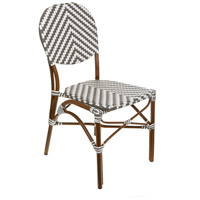 French Cafe Gray and White Outdoor Bistro Chair, Commercial-Grade