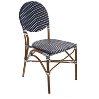 French Cafe Navy and White Outdoor Bistro Chair, Commercial-Grade