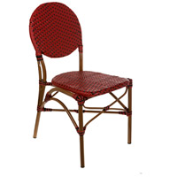 Aspen Brands CBCRRB French Cafe Red and Black Outdoor Bistro Chair, Commercial-Grade