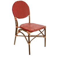 Aspen Brands CBCRRCC French Cafe Red and Cream Outdoor Bistro Chair, Commercial-Grade