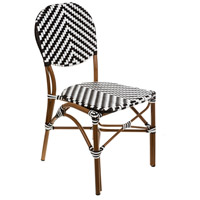 Aspen Brands CBCWWB French Cafe White and Black Outdoor Bistro Chair, Commercial-Grade