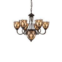 Authenticity Lighting Gatsby 7 Light Chandelier in Tobacco Leaf 10-0024-07-07